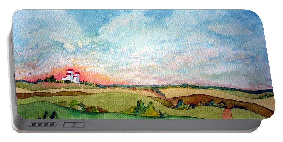 Prairie Grain Elevators Portable Battery Charger featuring the painting Prairie Grain Elevators by Joanne Smoley