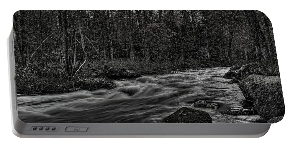 Dale Kauzlaric Portable Battery Charger featuring the photograph Prairie River Whitewater Black And White by Dale Kauzlaric