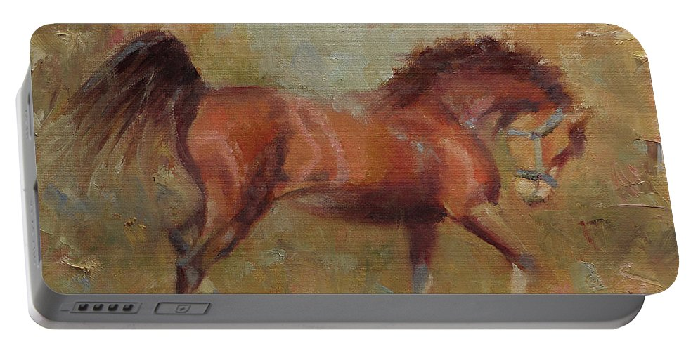 Horse Portable Battery Charger featuring the painting Prancing Bay by Sarah Parks