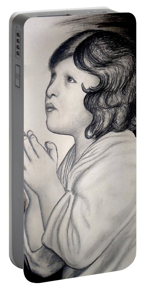 Prayer Is The Master-key Portable Battery Charger featuring the drawing Prayer Is The Master-key by Mbonu Emerem