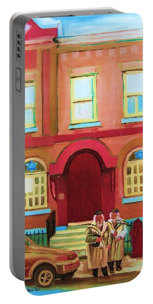 Bagg Street Synagogue Portable Battery Charger featuring the painting Prayer Shawls by Carole Spandau