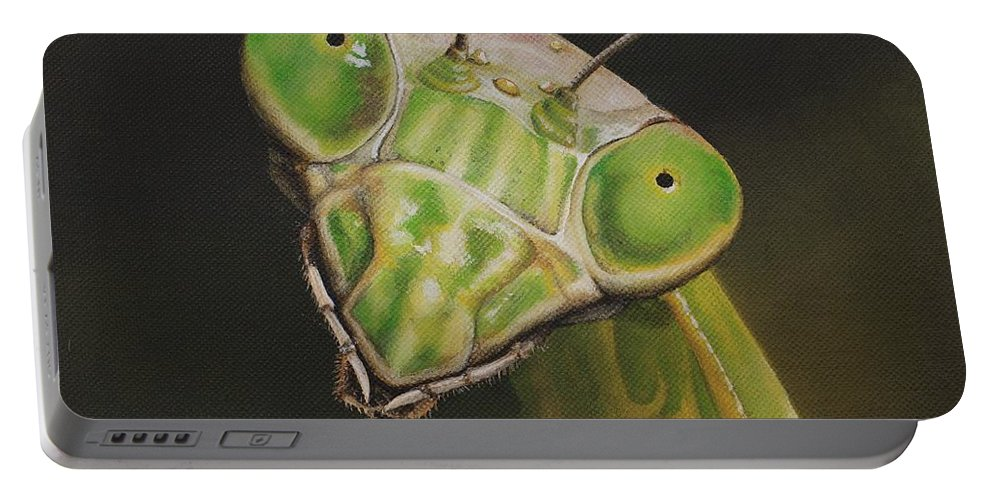 Praying Mantis Portable Battery Charger featuring the painting Praying Mantis by Cindy D Chinn