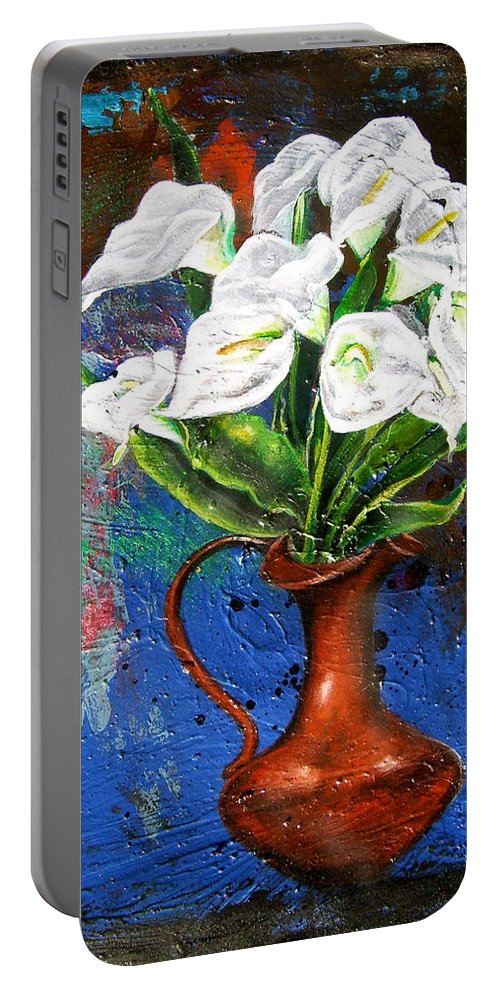 Orchid Painting Portable Battery Charger featuring the painting Preacher In The Pulpit 2 by Laura Pierre-Louis