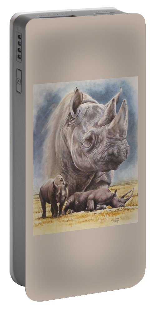 Wildlife Portable Battery Charger featuring the mixed media Precarious by Barbara Keith