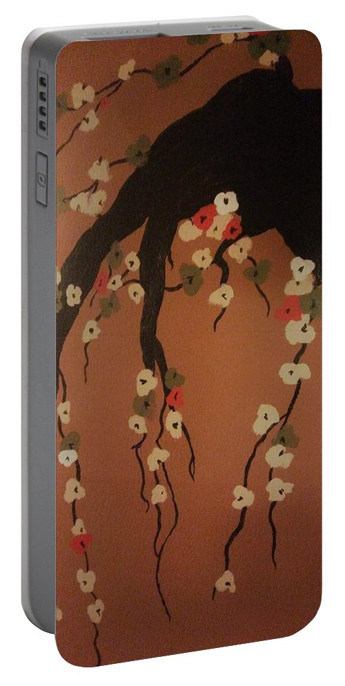 Floral Portable Battery Charger featuring the painting Precious by Demarco Kelly