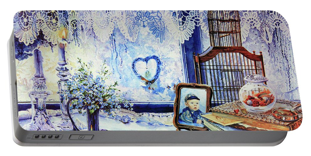 Lace Curtain Portable Battery Charger featuring the painting Precious Memories by Hanne Lore Koehler