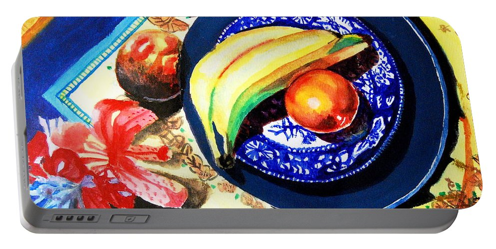 Dessert Portable Battery Charger featuring the painting Preparing For Dessert by Matthew Doronila
