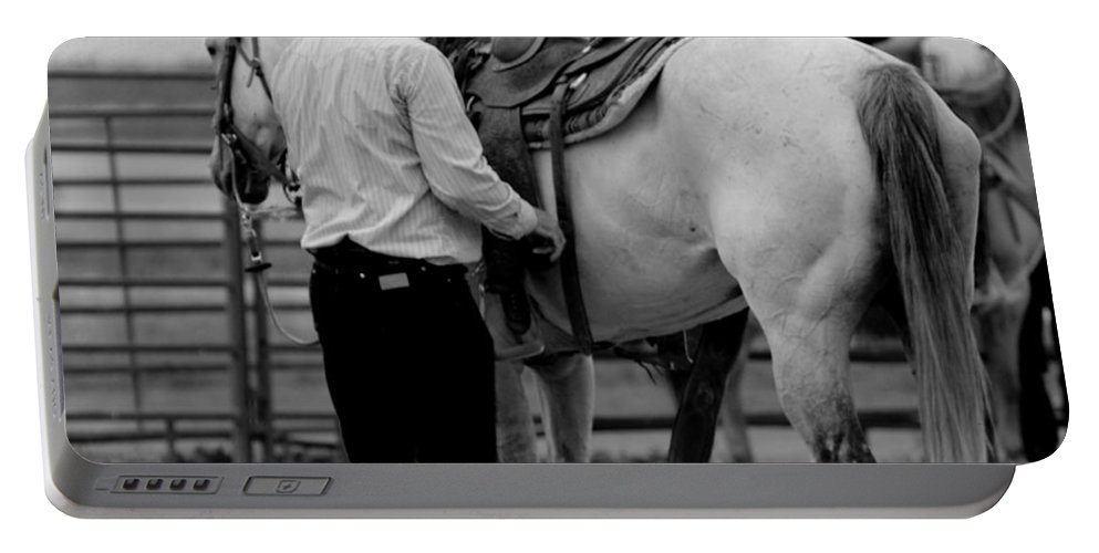 Rodeo Portable Battery Charger featuring the photograph Preparing by Scott Sawyer
