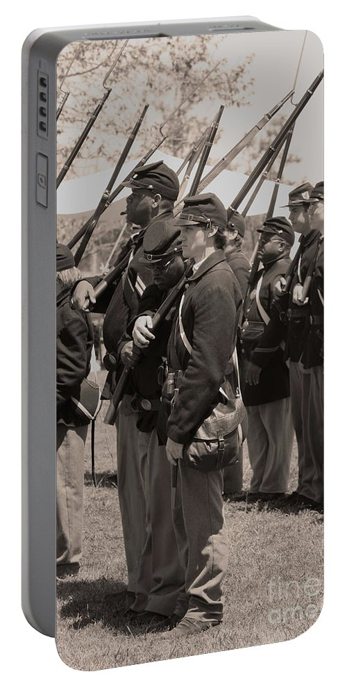Civil War Portable Battery Charger featuring the photograph Present Arms by Tommy Anderson