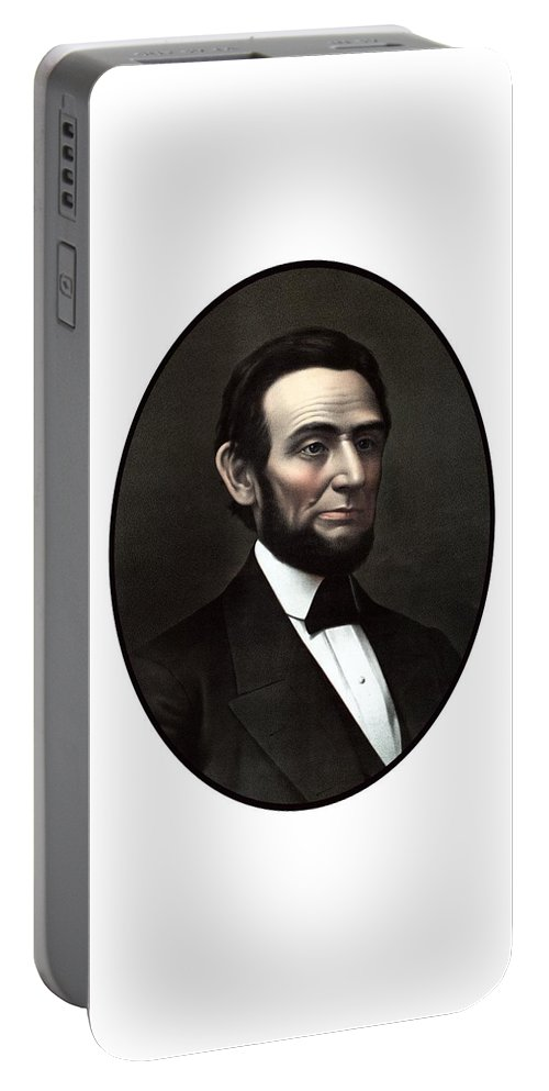 Abraham Lincoln Portable Battery Charger featuring the painting President Abraham Lincoln by War Is Hell Store