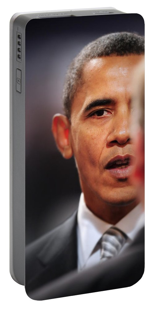Obama Portable Battery Charger featuring the photograph President Obama II by Rafa Rivas