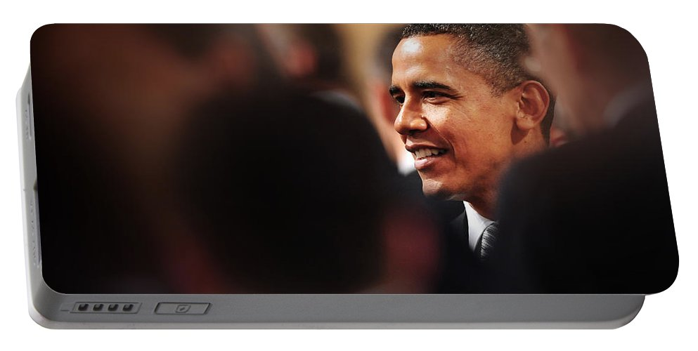 Obama Portable Battery Charger featuring the photograph President Obama by Rafa Rivas