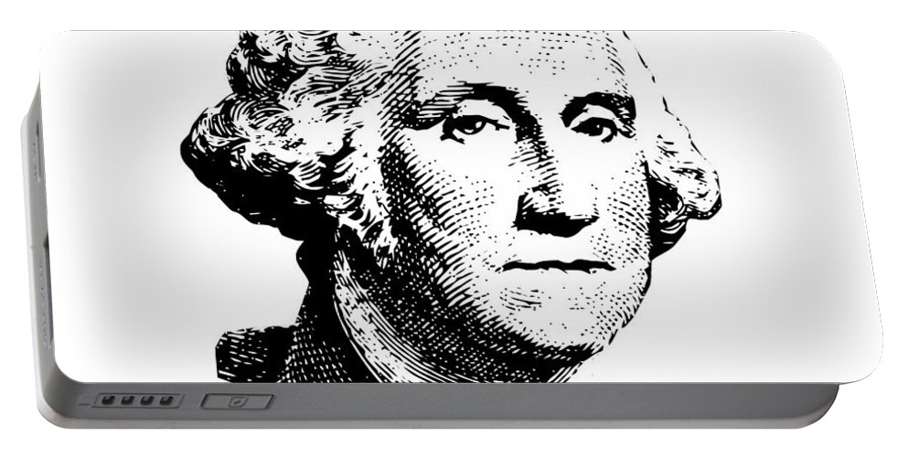 General George Washington Portable Battery Charger featuring the digital art President Washington by War Is Hell Store