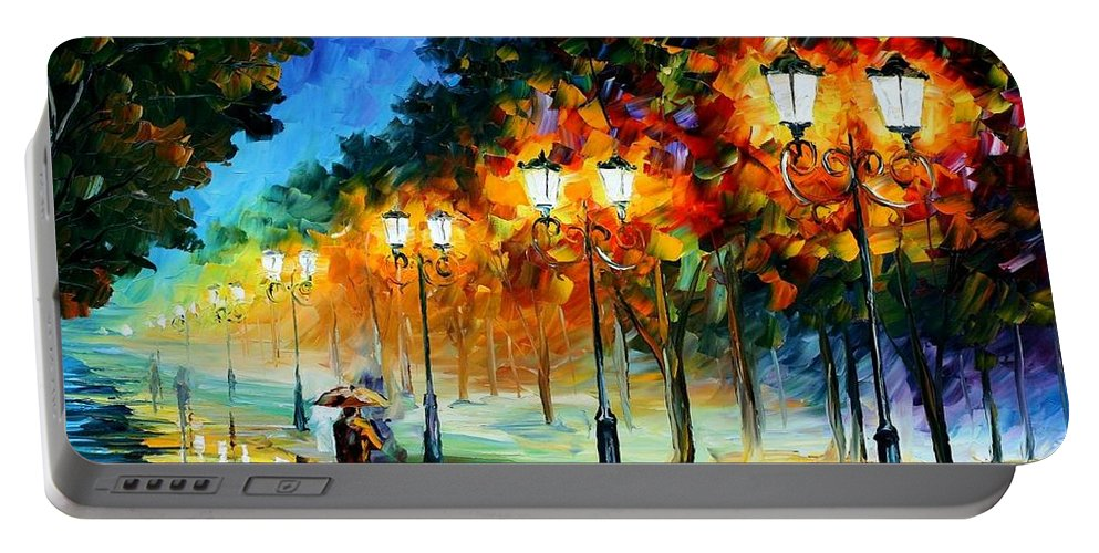 Afremov Portable Battery Charger featuring the painting Prespective Of The Night by Leonid Afremov