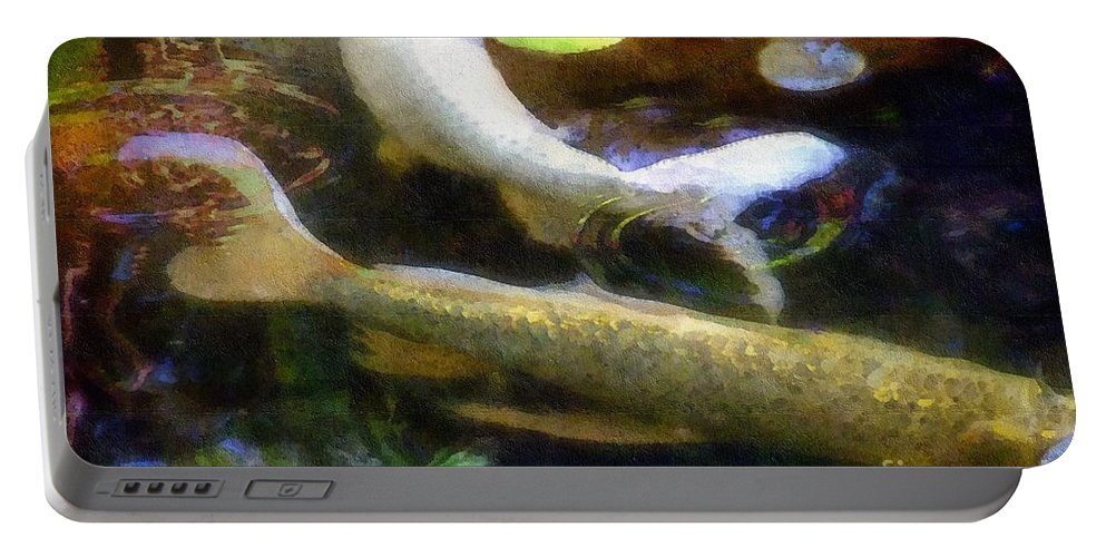 Fish Portable Battery Charger featuring the painting Pretending To Be Coy by RC DeWinter
