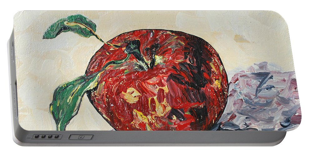 Apples Portable Battery Charger featuring the painting Pretty Apple by Reina Resto