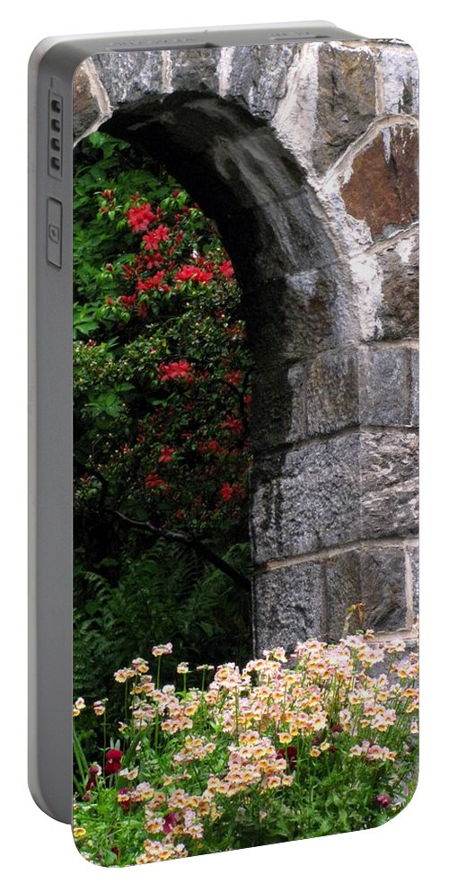 Flowers Portable Battery Charger featuring the photograph Pretty Entryway by Deborah Crew-Johnson