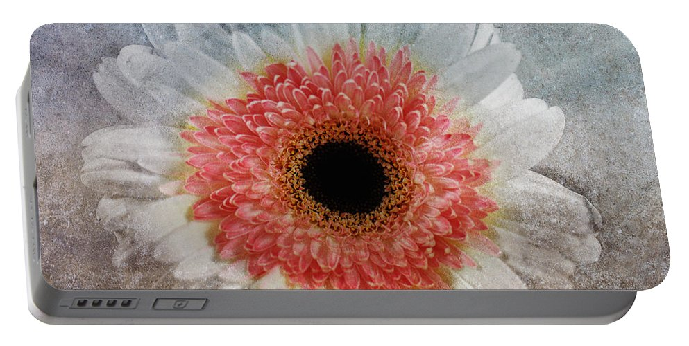 Macro Portable Battery Charger featuring the mixed media Pretty Gerbera Macro by Georgiana Romanovna