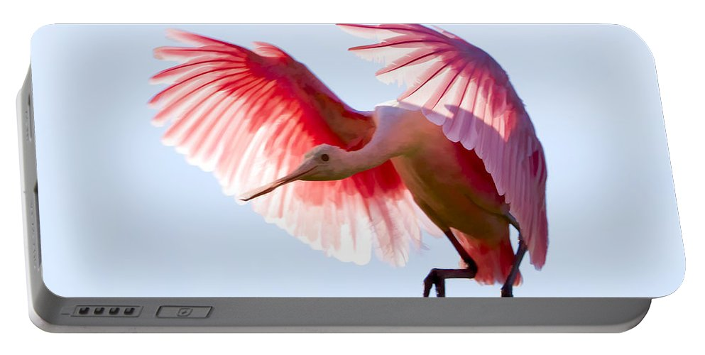 Roseate Spoonbill Portable Battery Charger featuring the photograph Pretty In Pink by Janet Fikar