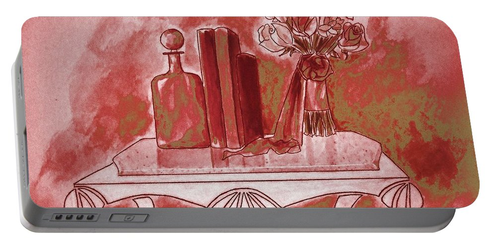 Tablescape Portable Battery Charger featuring the painting Pretty In Red by Jayne Somogy