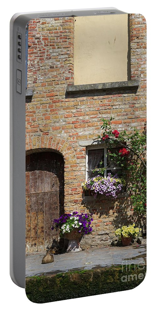 Pretty Portable Battery Charger featuring the photograph Pretty Terrace Beside The Groenerei Canal In Bruges Belgium by Louise Heusinkveld