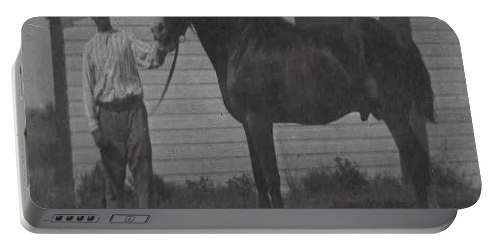 Old Photo Black And White Classic Saskatchewan Pioneers History Horse Clyde Sire Portable Battery Charger featuring the photograph Pride And Joy by Andrea Lawrence