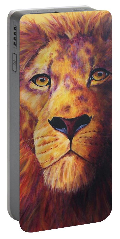 Lion Portable Battery Charger featuring the painting Pride by Wendi Curtis