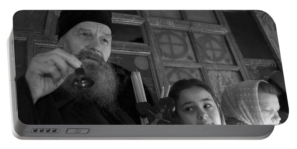 Christian Portable Battery Charger featuring the photograph Priest And A Young Girl by Nahum Budin