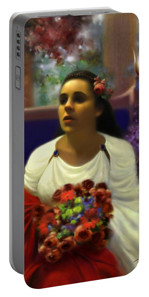 Goddess Portable Battery Charger featuring the digital art Priestess Of The Floral Temple by Stephen Lucas