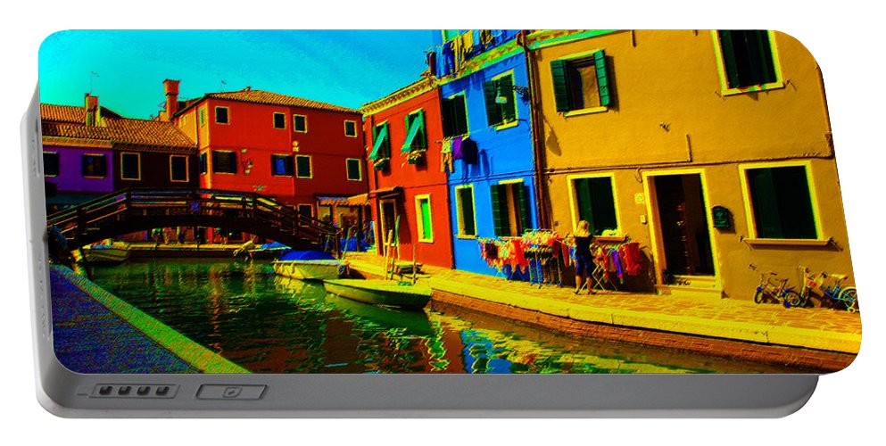 Burano Portable Battery Charger featuring the pastel Primary Colors 2 by Donna Corless