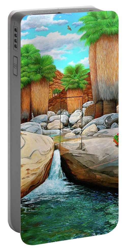 Landscape Portable Battery Charger featuring the painting Primary Escape Route by Snake Jagger