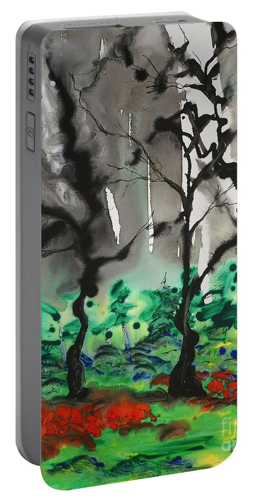Forest Portable Battery Charger featuring the painting Primary Forest by Nadine Rippelmeyer