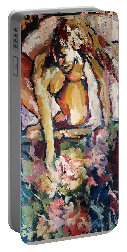 Spring Portable Battery Charger featuring the painting Primavera by Nelya Pinchuk