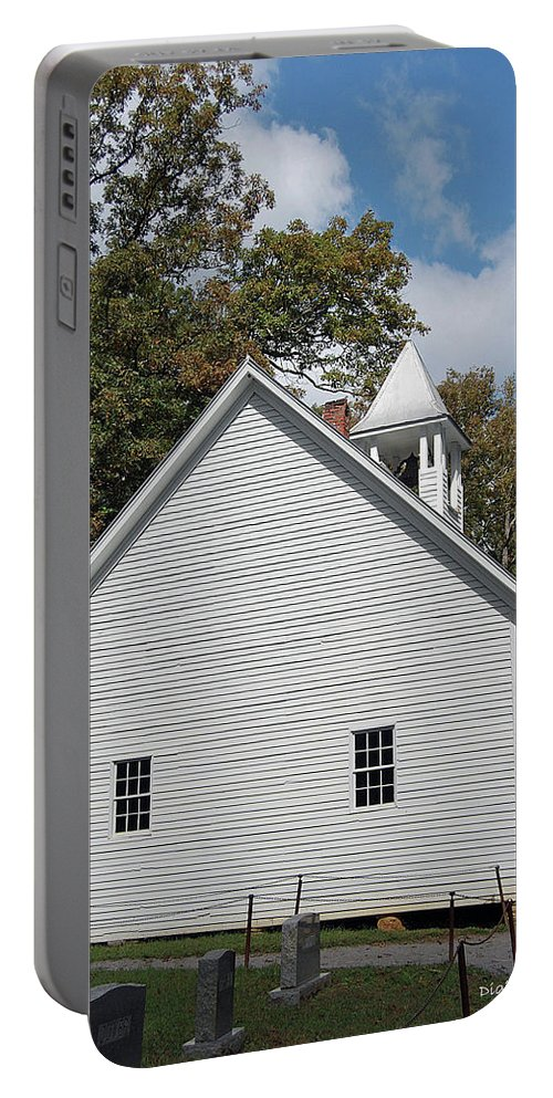 Cades Cove Portable Battery Charger featuring the digital art Primitive Baptist Church Est 1827 by DigiArt Diaries by Vicky B Fuller