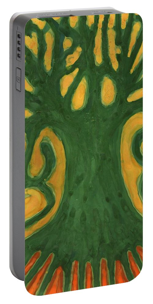 Colour Portable Battery Charger featuring the painting Primitive Tree by Wojtek Kowalski