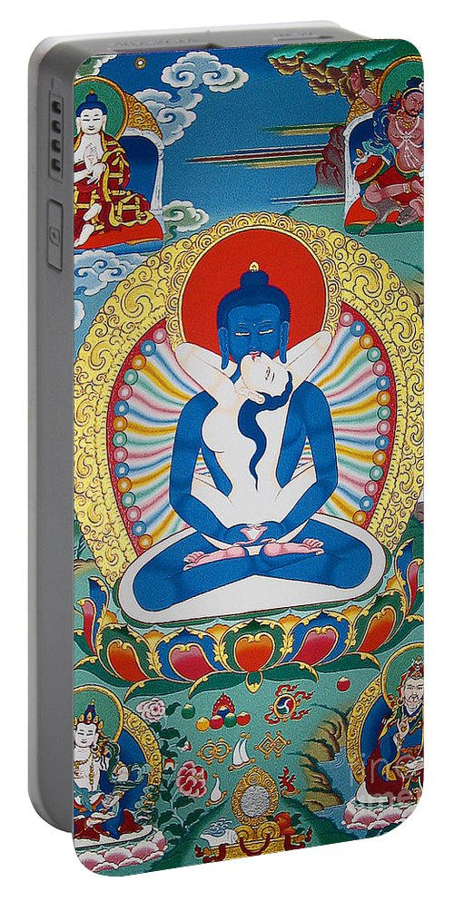 Thangka Portable Battery Charger featuring the painting Primordial Buddha Kuntuzangpo by Sergey Noskov