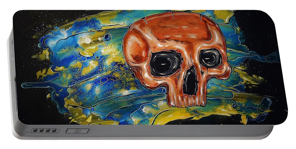 Skulls Portable Battery Charger featuring the painting Primordial Portraits 15 by David Buschemeyer