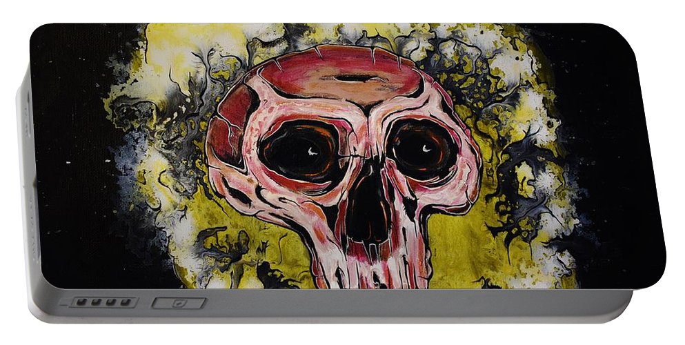 Skulls Portable Battery Charger featuring the painting Primordial Portraits 9 by David Buschemeyer