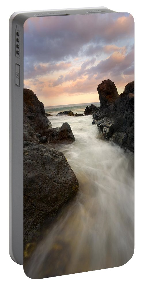 Sunrise Portable Battery Charger featuring the photograph Primordial Tides by Mike Dawson