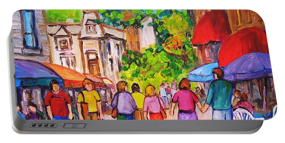 Rue Prince Arthur Montreal Street Scenes Portable Battery Charger featuring the painting Prince Arthur Street Montreal by Carole Spandau