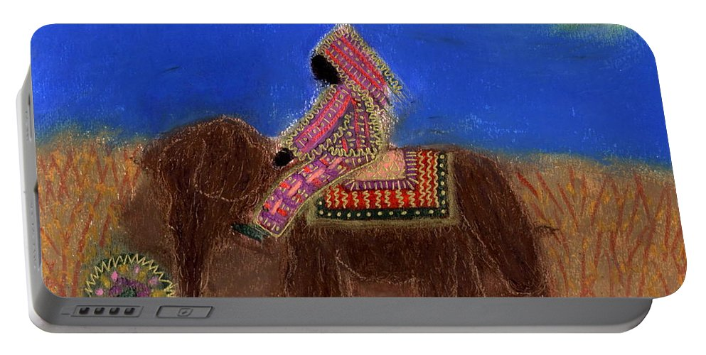 Spiritual Portable Battery Charger featuring the mixed media Princess Alga Rides Away by Angela L Walker