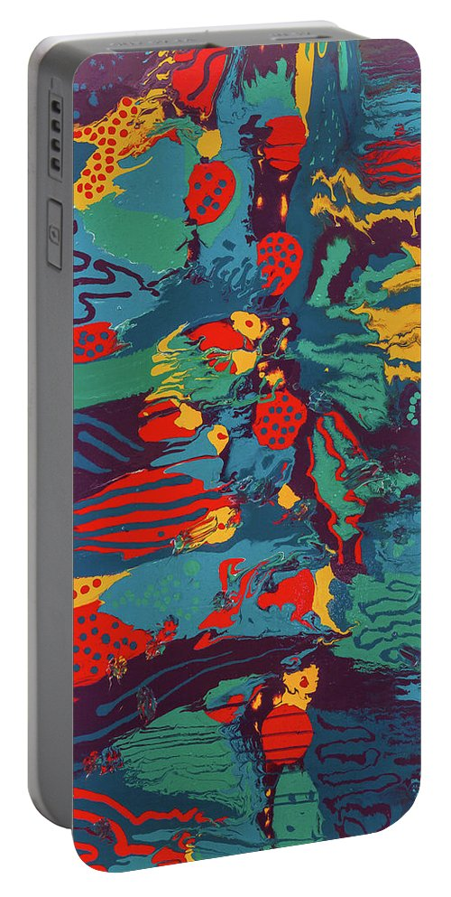 Abstract Portable Battery Charger featuring the painting Printed Saltillo by Dianne Bartlett