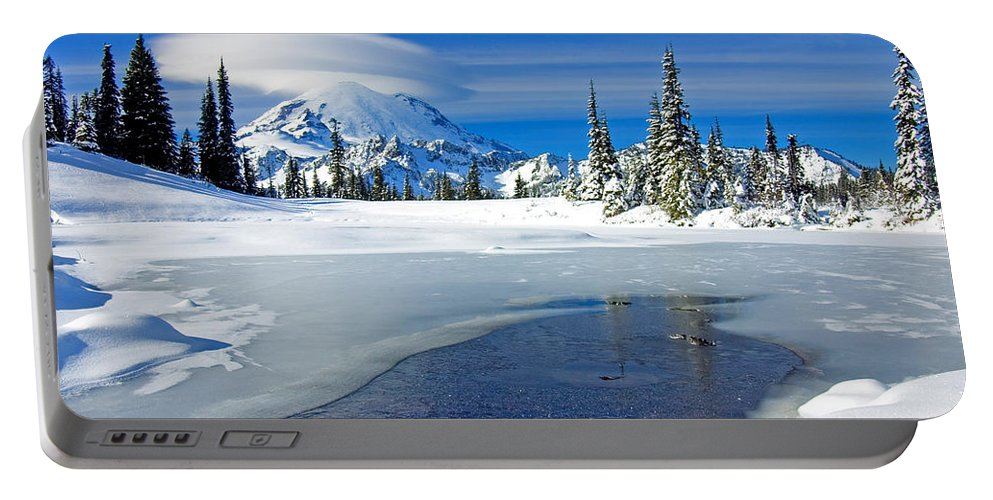 Rainier Portable Battery Charger featuring the photograph Pristine by Mike Dawson