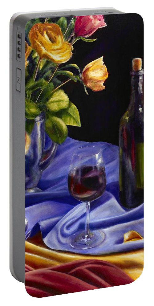 Still Life Portable Battery Charger featuring the painting Private Label by Shannon Grissom