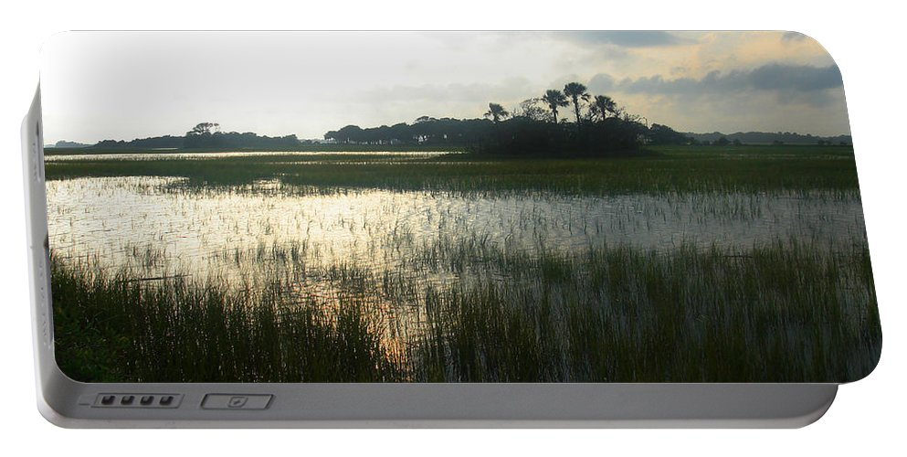 Photography Portable Battery Charger featuring the photograph Private Palm Island by Susanne Van Hulst