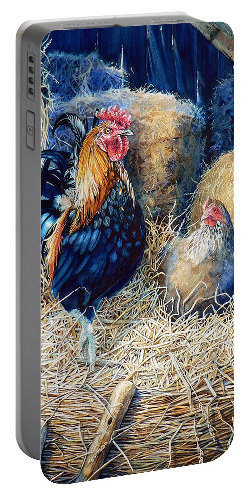 Painting Of Rooster Portable Battery Charger featuring the painting Prized Rooster by Hanne Lore Koehler