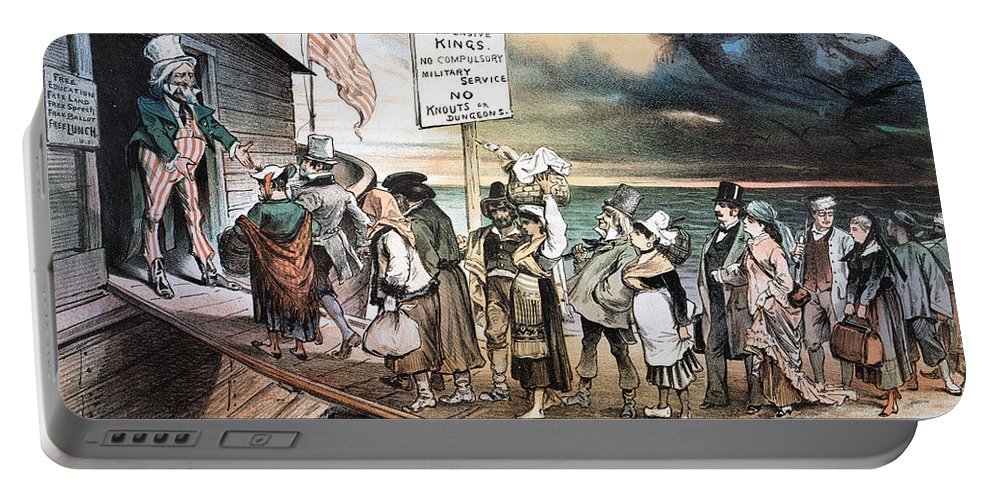 1880 Portable Battery Charger featuring the photograph Pro-immigration Cartoon by Granger