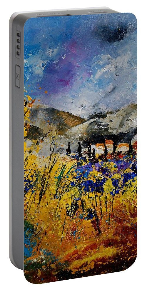 Poppies Artwork Portable Battery Charger featuring the painting Procence 569011 by Pol Ledent