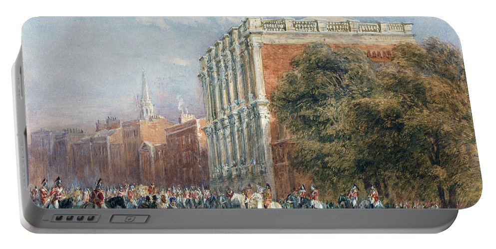 David Cox Portable Battery Charger featuring the painting procession with Queen Victoria by MotionAge Designs