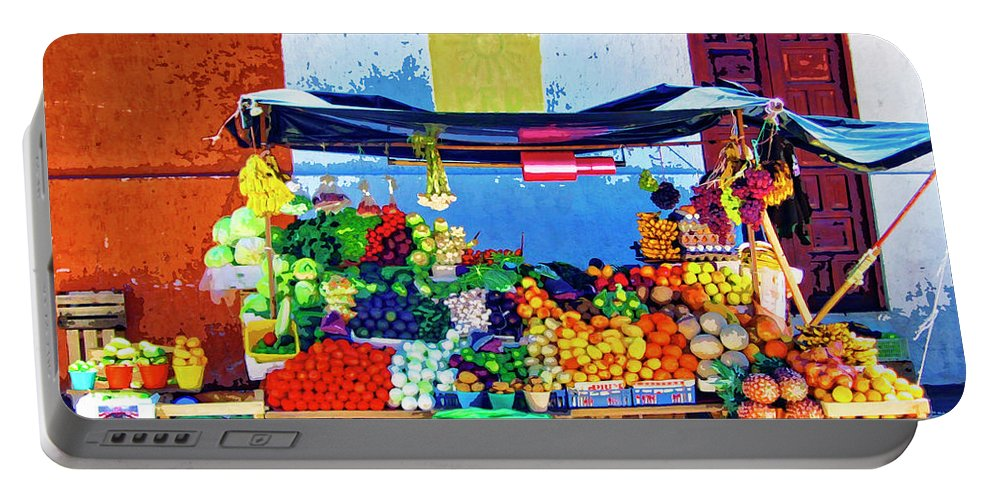 Produce Seller Portable Battery Charger featuring the painting Produce Seller by Dominic Piperata